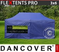 Racing tents Pop up gazebo FleXtents PRO 3x6 m Dark blue, incl. 6 sidewalls