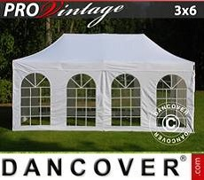 Racing tents Pop up gazebo FleXtents PRO Vintage Style 3x6 m White, incl. 6 sidewalls