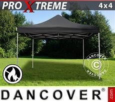 Racing tents Pop up gazebo FleXtents Xtreme 4x4 m Black, Flame retardant