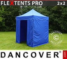 Racing tents Pop up gazebo FleXtents PRO 2x2 m Blue, incl. 4 sidewalls