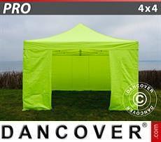 Racing tents Pop up gazebo FleXtents PRO 4x4 m Neon yellow/green, incl. 4 sidewalls