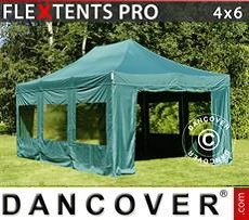 Racing tents Pop up gazebo FleXtents PRO 4x6 m Green, incl. 8 sidewalls