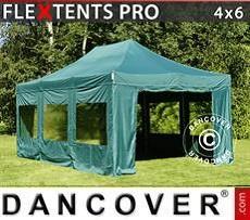 Racing tents Pop up gazebo FleXtents PRO 4x6 m Green, incl. 8 sidewalls