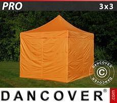 Racing tents Pop up gazebo FleXtents PRO 3x3 m Orange, incl. 4 sidewalls