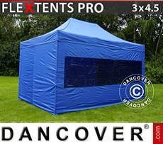Racing tents Pop up gazebo FleXtents PRO 3x4.5 m Blue, incl. 4 sidewalls