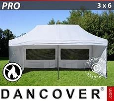 Racing tents Pop up gazebo FleXtents PRO 3x6 m White, Flame retardant, incl. 6 sidewalls