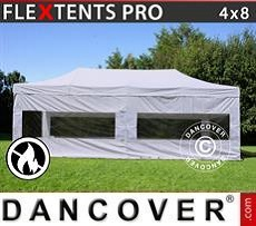 Racing tents Pop up gazebo FleXtents PRO 4x8 m White, Flame retardant, incl. 4 sidewalls