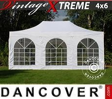 Racing tents Pop up gazebo FleXtents Xtreme Vintage Style 4x6 m White, incl. 8 sidewalls