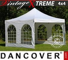 Racing tents Pop up gazebo FleXtents Xtreme Vintage Style 4x4 m White, incl. 4 sidewalls