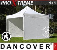 Racing tents Pop up gazebo FleXtents Xtreme 4x4 m White, Flame retardant, incl. 4 sidewalls