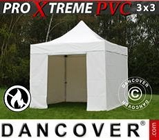 Racing tents Pop up Gazebo FleXtents Xtreme Heavy Duty 3x3 m White, Incl. 4 sidewalls