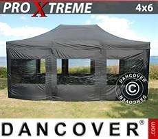 Racing tents Pop up gazebo FleXtents Xtreme 4x6 m Black, incl. 8 sidewalls