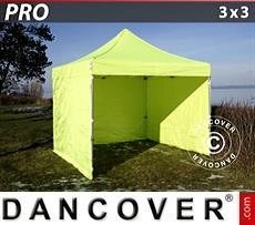 Racing tents Pop up gazebo FleXtents PRO 3x3 m Neon yellow/green, incl. 4 sidewalls