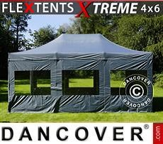 Racing tents Pop up gazebo FleXtents Xtreme 4x6 m Grey, incl. 8 sidewalls