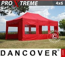 Racing tents Pop up gazebo FleXtents Xtreme 4x6 m Red, incl. 8 sidewalls