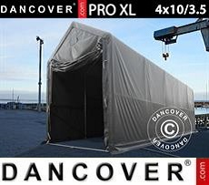 Storage shelter PRO XL 4x10x3.5x4.59 m, PVC, Grey