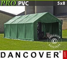 Storage shelter PRO 5x8x2x2.9 m, PVC, Green