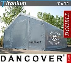 Storage shelter Titanium 7x14x2.5x4.2 m, White / Grey
