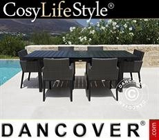 Garden furniture set, Miami, 1 table + 6 chairs, Black/Grey