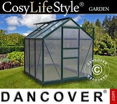 Greenhouse Polycarbonate 3.64m², 1.9x1.92x2.01 m, Green