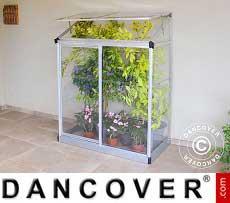 Lean-to Greenhouse Polycarbonate, 0.78 m², 0.63x1.25x1.60 m, Silver