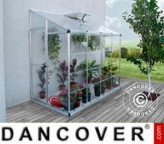 Lean-to Greenhouse Polycarbonate, 3.05 m², 1.25x2.44x2.25 m, Silver