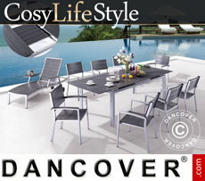 Gartenmöbel-Set, CosyLifeStyle, 1 Tisch & 6 Stühle, Schwarz