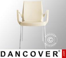 Stuhl mit Armlehnen, Boulevard, Elfenbeinfarben, 6 Stück