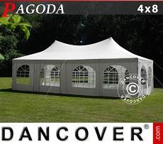 Partyzelt Pagoda 4x8m, Weißgrau