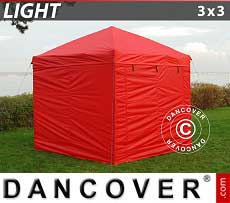 Faltzelt FleXtents Light 3x3m Rot, mit 4 wänden