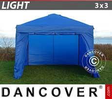 Faltzelt FleXtents Light 3x3m Blau, mit 4 wänden