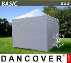 Faltzelt FleXtents Basic 300, 3x3m Weiß, mit 4 wänden