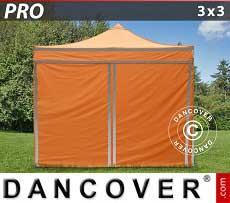 Faltzelt FleXtents PRO 3x3m Orange mit Reflektorbändern, mit 4 wänden