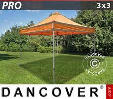 Faltzelt FleXtents PRO 3x3m Orange mit Reflektorbändern