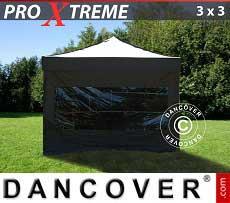 Faltzelt FleXtents Xtreme 3x3m Schwarz, mit 4 Wänden