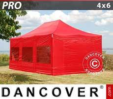 Partyzelt PRO 4x6m Rot, mit 8 wänden