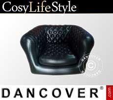 Aufblasbarer Sessel, Chesterfield-Stil, Schwarz