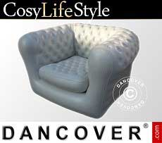 Aufblasbarer Sessel, Chesterfield-Stil, Weißgrau