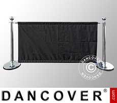 Barrieresystem, Café-Set, Silber mit schwarzem Banner