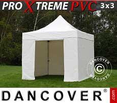 Faltzelt FleXtents Xtreme Heavy Duty 3x3 m, Weiß inkl. 4 Wänden