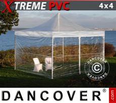Faltzelt FleXtents Xtreme 4x4m Transparent, mit 4 wänden