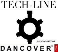 5-Wege-Verbinder für Lichterketten, Tech-Line, schwarz, Ø10cm