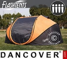 Pop-Up Campingzelt, FlashTents®, 4 Personen, Large, Orange/Dunkelgrau
