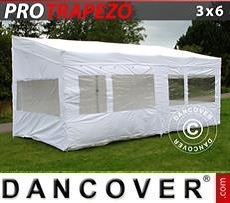 Faltzelt FleXtents PRO Trapezo 3x6m Weiß, mit 4 wänden