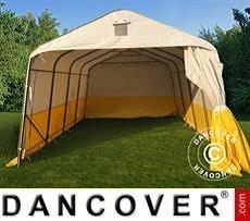 Lager- und Arbeitszelt PRO 3,6x4,8x2,7m, PVC, weiß/gelb, flammfest