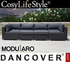 Polyrattan Lounge-Sofa, 4 Module, Modularo, grau