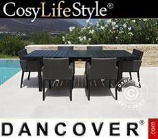 Gartenmöbel-Set, Miami, 1 Tisch + 6 Stühle, schwarz/grau