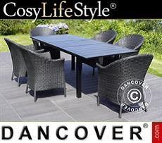 Gartenmöbel-Set mit 1 Gartentisch + 6 Gartenstühlen, Key West, schwarz