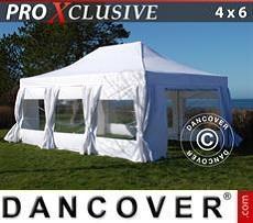 Partyzelte Faltzelt FleXtents PRO 4x6m Weiß, mit 8 wänden & Vorhänge