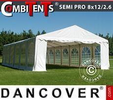 Partyzelt, SEMI PRO Plus CombiTents® 8x12 (2,6)m 4-in-1, Weiß